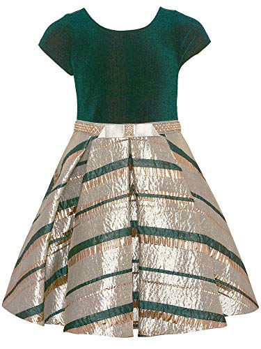 Bonnie Jean Little Girls Green Velvet Silver Stripe Christmas Dress 4
