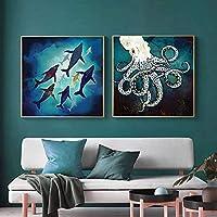 抽象的な海の動物のタコのイカのポスターとプリント壁アートキャンバス絵画画像リビングルームの家の装飾60x60cmx2フレームレス