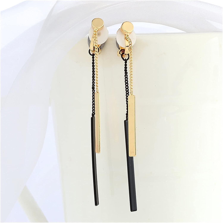 chenfeng Women's Long Earrings New Long Tassel Clip on Earrings No Pierced for Women Party Wedding Luxury Bride No Hole Earrings
