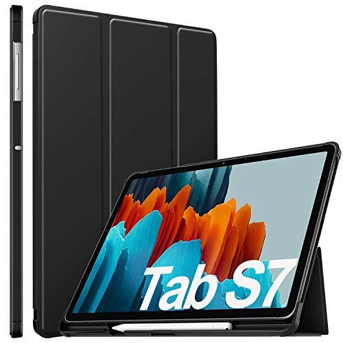 ELTD Hülle für Samsung Galaxy Tab S7,Ultra Lightweight Flip mit Ständer und Eingebautem Magnet Hochwertiges PU Leder Schutzhülle für Samsung Galaxy Tab S7 (SM-T870/875) 11 Zoll 2020, Schwarz