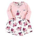 Hudson Baby Girls' Cotton Dress and Cardigan Set, Blush Floral, 3-6 Months
