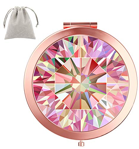 Dynippy Compact Mirror Round Rose Gold Makeup Mirror Folding Mini Pocket Mirror Portable Hand Mirror Double-Sided with 2 x 1x Magnification for Woman Mother Kids Great Gift (Pink Diamond Pattern)