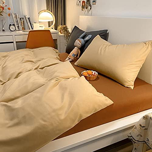 Traje de Cuatro Piezas de Contraste de Color Puro con Funda de Almohada Cama de Viento Simple Duvet Funda Dormitorio Estudiante-Albaricoque + té de Leche_200 * 230m