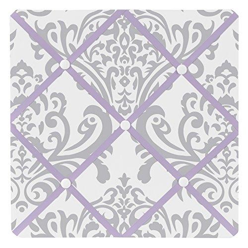 Lavender, Gray and White Damask Print Elizabeth Fabric Memory/Memo Photo Bulletin Board for a Girl