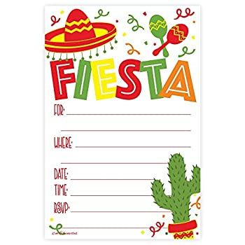 Fiesta Party Invitations  20 Count  with Envelopes