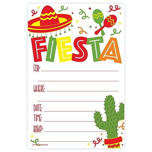Fiesta Party Invitations (20 Count) with Envelopes