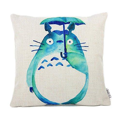 Hero Ivy Carino Totoro Stampa Federe Cuscini in Cottone e Lino per Divano Letto Sedia Durevole Morbido Decorativo Cuscino Copricuscini, 45 x 45cm