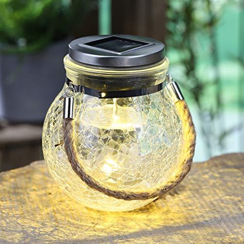 LED Solar Hängeleuchte Glaskugel Ø12xH14cm in Bruchglas-Optik mit Farbwechsel, Solarleuchte Solarlampe