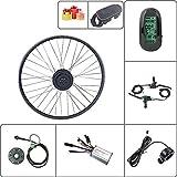 Schuck Kit de modificación de Bicicleta eléctrica Rueda Delantera Motor Rueda 16-29 Pulgadas Rueda 700C 36V48V 250W con Kit de Pantalla ebike KT LCD6 (36V250W LCD6 24inch)