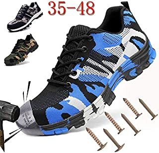 Construction Men's Outdoor Plus Size Steel Toe Cap Work Boots Shoes Men Camouflage Puncture Proof Safety Shoes Breathable(Stone Grey Camo,9.5)