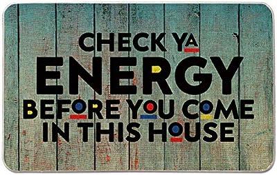 Occdesign Welcome Mat for Front Door Farmhouse Rustic Decorative Entryway Outdoor Floor Doormat Durable Burlap Outdoor Rug | Check Ya Energy Before You Come in