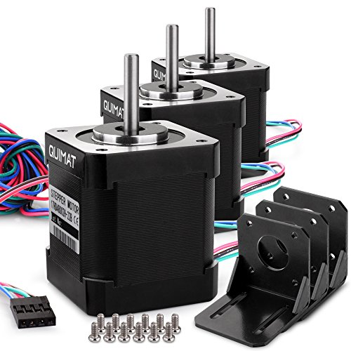 Quimat 3 Pack Nema 17 Stepper Motor 1.7 A 0.59 Nm 84 oz.in 47mm Body w/ 1m 4-Pin Cable & Connector and 3 Pack Mounting Bracket Kit for 3D Printer/CNC