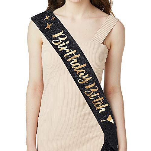 ADBetty Birthday Sash - Birthday Gifts for Women Birthday Girl Sash Fun Party Favors (Black/Gold)