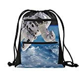Drawstring Bag Universe Astronaut Lightweight Drawstring Backpacks for Adult Men and Women with Zipper Mesh Pockets