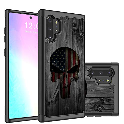 Galaxy Note 10 Plus/Pro/5G Case,Rossy 2 in 1Hybrid Hard PC & Soft Silicone Heavy Duty Dual Layer Shockproof Full-Body Protection Case for Sunsang Galaxy Note 10 Plus-American Skull Flag on Wood