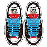 Homar sin corbata Cordones de zapatos para niños y adultos Impermeables cordones de zapatos de atletismo atlética de silicona elástico plano con multicolor de los zapatos del tablero Sneaker boots (Adult Size Blue)