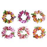 Toyvian Corona de Flores Hawaiana Tocado Hawaii Luau Tropical Wreath Party Supplies 6pcs (Aleatorio)
