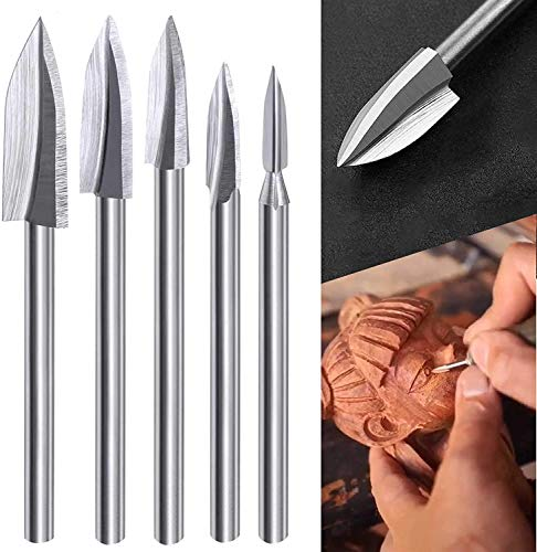 """Wood Carving Tools, 5 PCS HSS Engraving Drill Bit Set Wood Crafts Grinding Woodworking Tool 1/8"""" Shank Universal Fitment for Rotary Tools"""