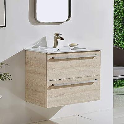 """ENGELCH Modern Wall Mounted Bathroom Vanity, 29"""" Greyish 2 Drawers Floating Bathroom Vanity, Storage Cabinet with White Ceramic Vessel Basin Top Vanity Sink Combo"""