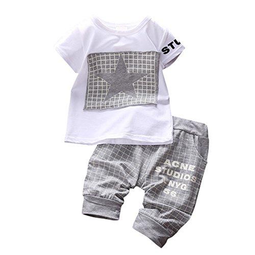 ESHOO Baby Jungen Mädchen Kurzarm T Shirt Shorts Sommer-Outfits Kleidung Set