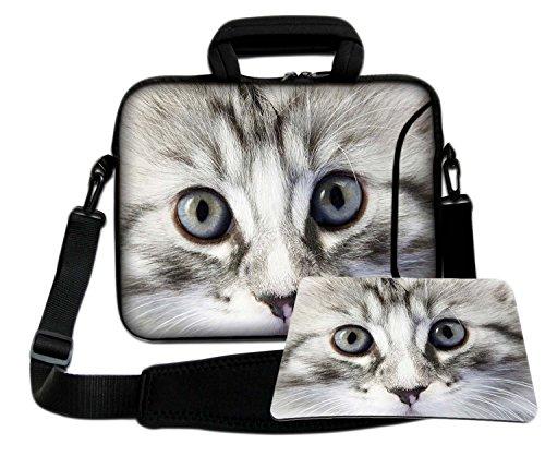Luxburg - Funda Blanda con asa y Correa para el Hombro para portátil de 12', Incluye Alfombrilla para ratón, diseño de Ojos de Gato