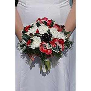 Real Touch Red Anemone Ivory Rose Christmas Wedding Bouquet