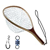 Maxcatch Fly Fishing Landing Net Trout Wooden Frame Soft Rubber Netting with Magnet Release (FL08 Rubber Net&Blue Net Release)