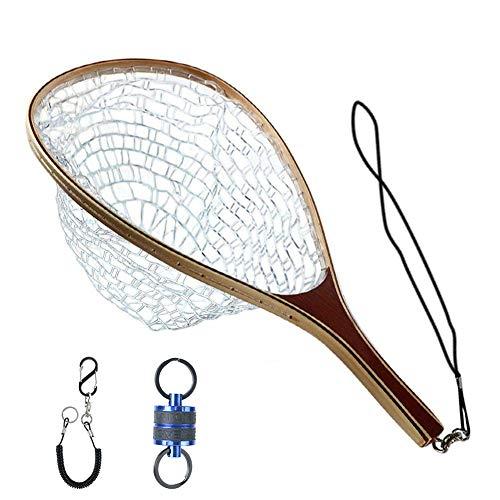 Maxcatch Fly Fishing Landing Net Trout Net Wooden Frame with Rubber Netting (FL08 Rubber Net&Blue Net Release)