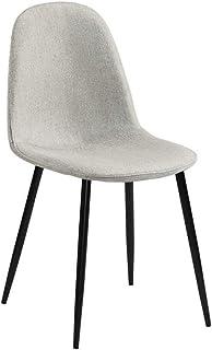 ZONS – Lote de 4 sillas de comedor Estocolmo en tejido beige y negro