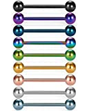 vcmart 14G Tongue Rings Nipple Straight Barbells Surgical Steel Body Piercing Jewelry 16mm