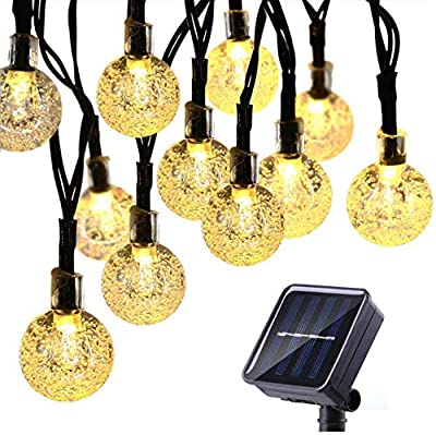 Chxico Solar String Lights Outdoor 50 LED 23FT Christmas Lights with 8 Lighting Modes, Waterproof Solar Powered Patio Lights for Garden Yard Porch Wedding Party (Warm White)