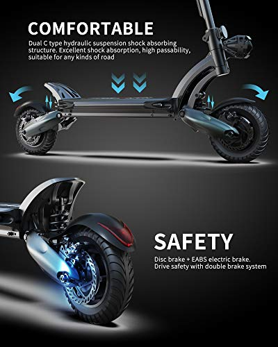 NANROBOT D6+ Electric Scooter for Adults, Electric Scooter with Seat Up to 40 Miles & 40 Mph, Adult Scooter Electric 2000W Motor 10' Pneumatic Off-Road Tires Dual Hydraulic Suspensions