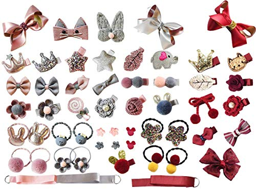 LABOTA Kinder Schleife und Haargummis Set, 54 Stücke Nette Haarbögen Haarclip für Baby Mädchen Geburtstagsgeschenk Kindertagsgeschenk mit Geschenkbox