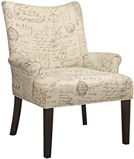 Coaster Home Furnishings Coaster Casual French Script Pattern Accent Chair, Off-White/Cappuccino