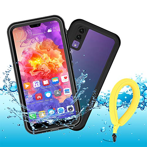 Mijobs P20 Funda Impermeable,IP68 Waterproof Outdoor Delgado Cover a Prueba de choques Anti-rasguños Full Body Protector Case Impermeable Funda para Huawei P20 (Black + Floating Strap)