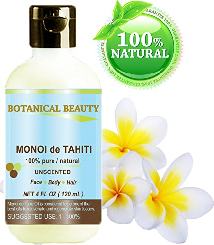 MONOI DE TAHITI OIL 100% Pure / Natural. Cold Pressed / Undiluted / Virgin / Unscented /Polynesia Original Guarantee. For Face, Hair And Body. (4 Fl.oz.- 120 ml) By Botanical Beauty