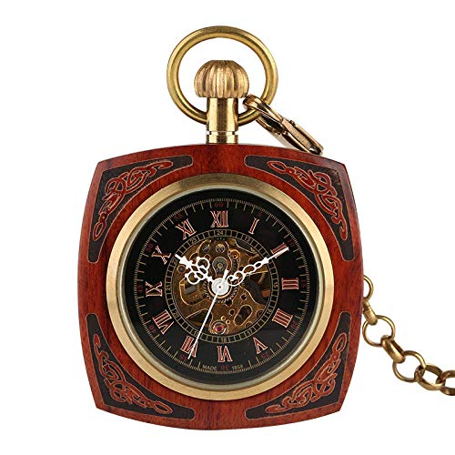 Pocket Watch With Chain Retro Unique Royal Red Wood Bamboo Manual Winding Mechanical Square Dial With Golden Mens Hour Watch Gifts Bamboo Wood