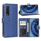 FUNMAX+ Oppo Find X2 Pro 5G Hülle, PU Leder Handyhülle mit 3 Kartenfächer, Schutzhülle Hülle Tasche Magnetverschluss Flip Cover Stoßfest für Find X2 Pro (Blau)