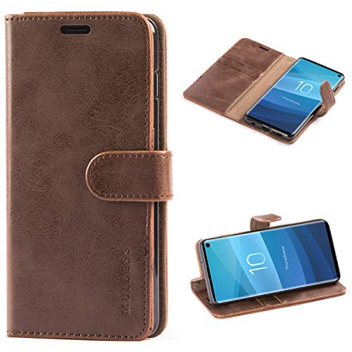Mulbess Handyhülle für Samsung Galaxy S10 Hülle, Leder Flip Case Schutzhülle für Samsung Galaxy S10 Tasche, Vintage Braun