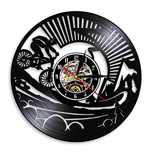 Reloj de Pared de Vinilo LED, Reloj de Pared con Registro, Ciclismo de montaña, Hombre, Arte de Pared, Reloj de Pared, Ciclismo de montaña