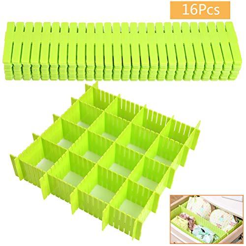 DODUOS 16 Stück Schubladenteiler Verstellbar Fachteiler Kunststoff Schubladentrenner Schubladen Organizer Schubladenraster für Schrank Unterwäsche Socken Krawatten Gürtel Kosmetik (Grün)