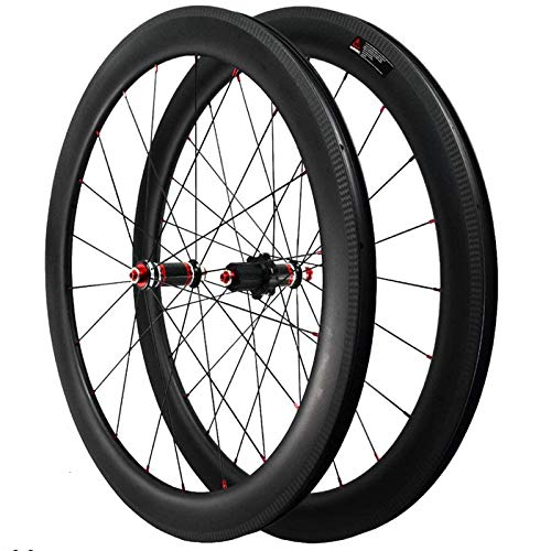 YSHUAI 700C Rennrad Carbon Laufrad, Fahrrad Laufradsatz Hinterrad Vorne Fahrradrad V-Brake Aluminiumlegierung Hub 40Mm/50Mm/55Mm Breite Kompatibel 7/8/9/10/11/12 Geschwindigkeit Freilauf,50mm