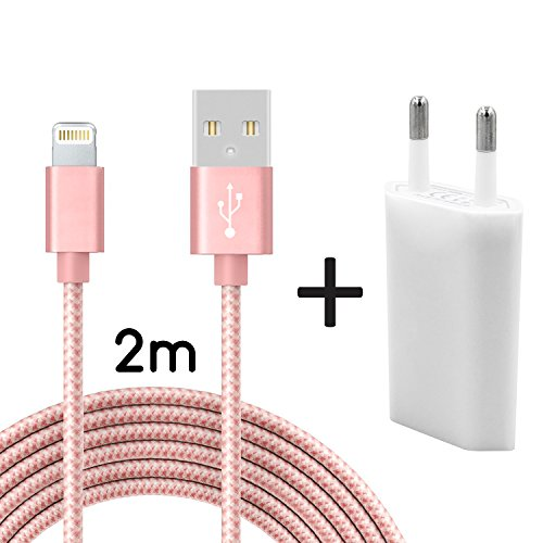 Coverlounge Ladegerät mit Lightning Kabel 2m / 2 Meter Nylon mit Netzteil/Netzstecker Lightning Ladekabel kompatibel mit Apple iPhone, iPad und iPods mit Lightning Anschluss (8 Pin) in Rose Gold