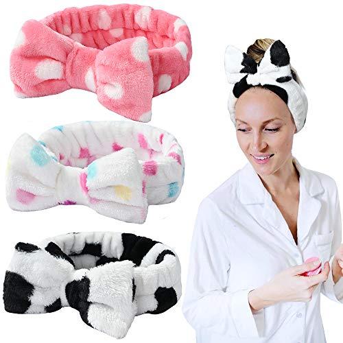 3 piezas Spa diadema Bowknot banda para el cabello para niñas mujeres encantadora suave Carol diadema elástica envoltura para el cabello bandas de maquillaje diadema de ducha
