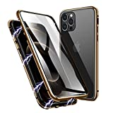 ZHIKE Case Compatible with iPhone 12/12Pro Case, Magnetic Adsorption Case Front and Back Tempered Glass Full Screen Coverage One-Piece Design Flip Cover [Support Wireless Charging] (Gold)