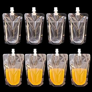 RONRONS 50 Pieces 200ml/6.76oz Plastic Flasks Liquor Cruise Pouches Reusable Liquid Spout Bags Transparent Drinking Pouch Large Capacity Beauty Liquids Containers Concealable Sneak Alcohol Travel Bag