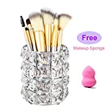Feyarl Crystal Makeup Brush Holder Makeup Brush Comb Organizer Storage Pen Pencil Holder Cosmetics Tools Container for Dresser Countertop Bathroom Office (Silver)