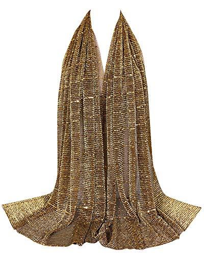 YAOMEI Mujer Bufanda Chales Estolas, Mujer Mantón Estolas Fulares Bufanda Pañuelo bodas nupcial bridemaids Ropa de noche partido (78.9 * 25.6 inches (180cm*65cm), Oro)