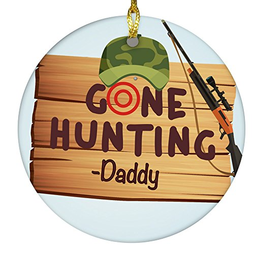 GiftsForYouNow Personalized Gone Hunting Ceramic Christmas Ornament, 2.75'