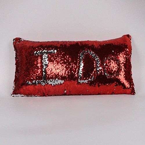 Inconnu Oreiller de Paillettes de Couleur de 3pcs, taie d'oreiller Longue et élégante de Voiture 30 * 60cm, Red + Silver, 30 * 60cm